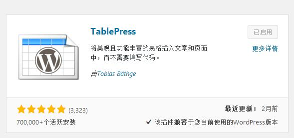 wordpress表格插件TablePress